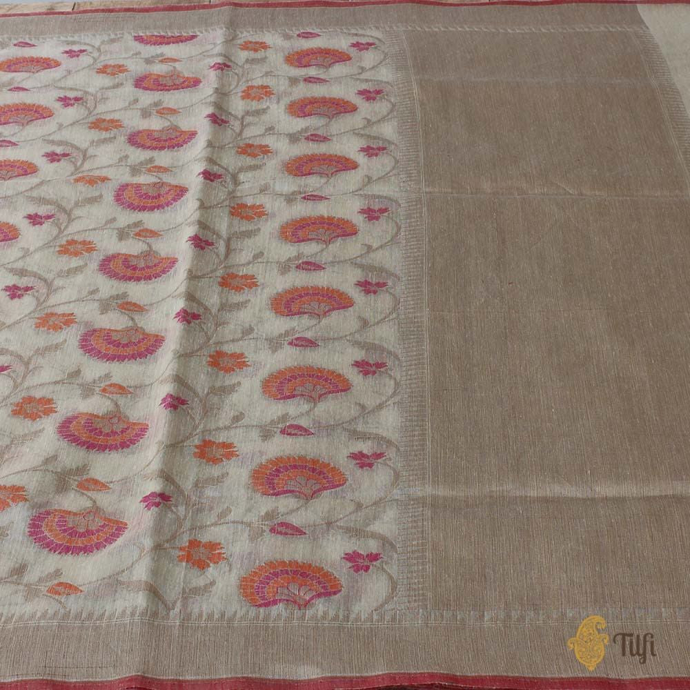 Tussar Colour Pure Linen Tussar Silk Banarasi Handloom Saree
