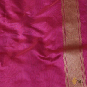 Orange-Gulabi Pink Pure Kora Silk Handwoven Banarasi Saree