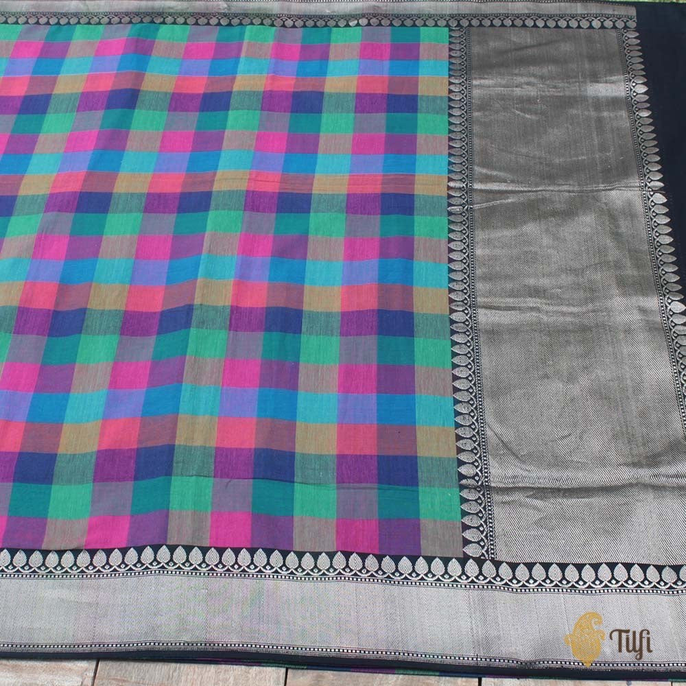 Checkered Pure Cotton Handloom Banarasi Saree