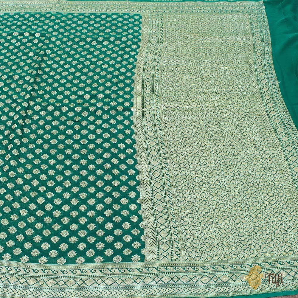 Green Pure Chiffon Georgette Banarasi Handloom Saree