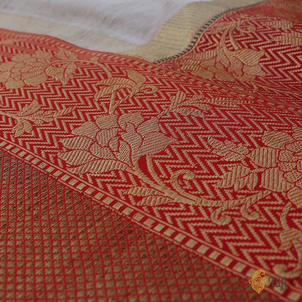 Tussar-Red Pure Tussar Silk Banarasi Handloom Saree