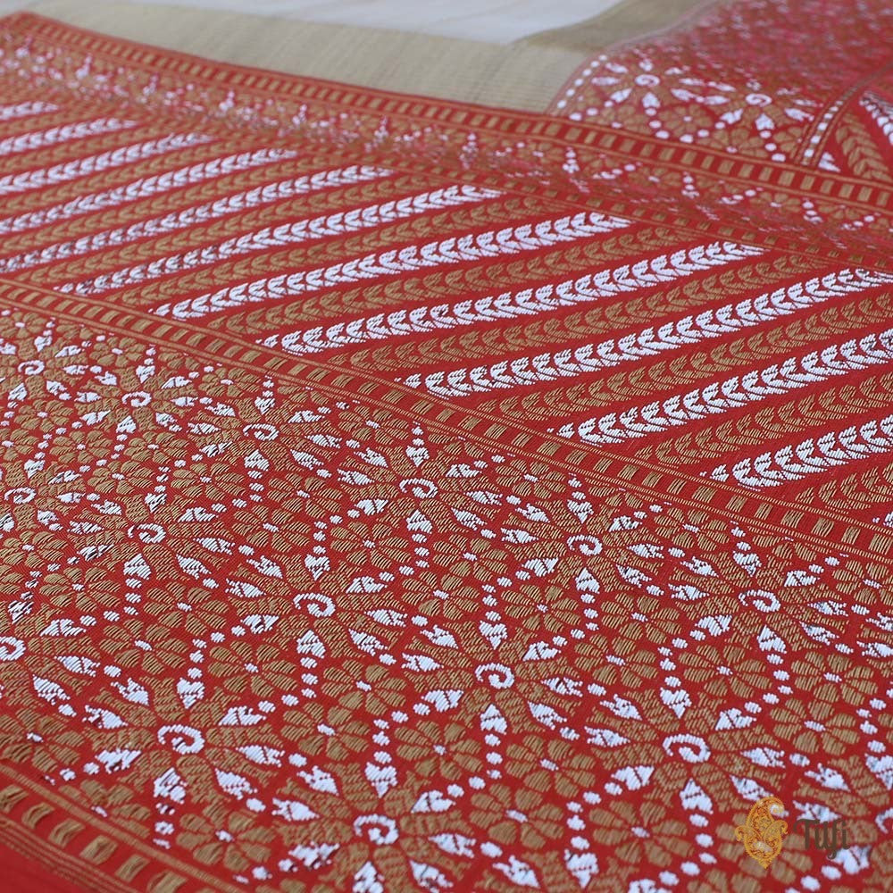 Tussar-Orange Pure Tussar Silk Handwoven Banarasi Saree