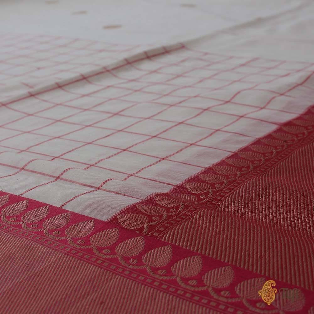 Off-White-Red Pure Cotton Banarasi Kadiyal Handloom Saree