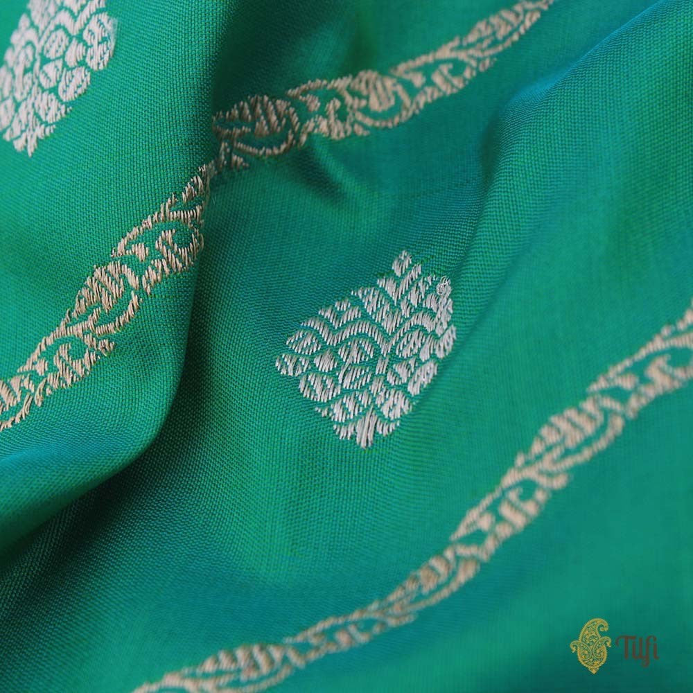 Teal Green Pure Katan Silk Banarasi Handloom Saree