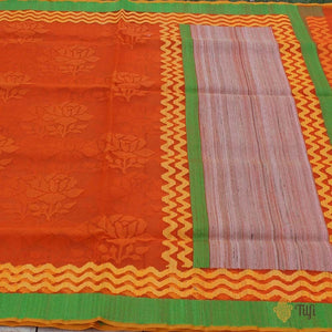 Orange Pure Kora Net Banarasi Handloom Saree