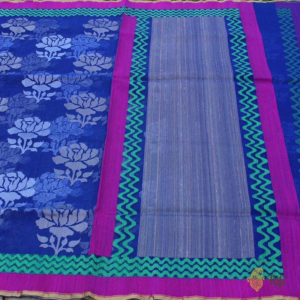 Blue Pure Kora Net Banarasi Handloom Saree