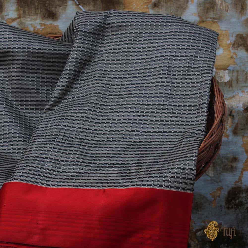 Black-Grey Pure Soft Satin Banarasi Handloom Saree