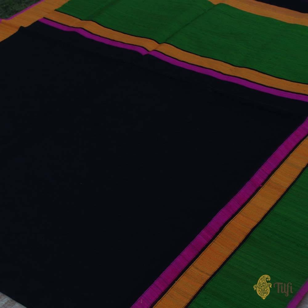 Black Pure Kora Silk Banarasi Handloom Saree