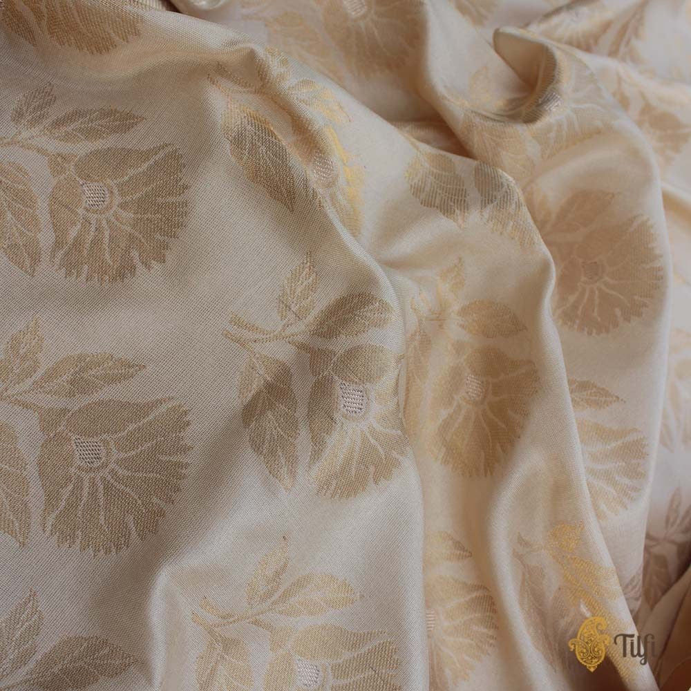 Cream Pure Katan Silk Handloom Banarasi Saree