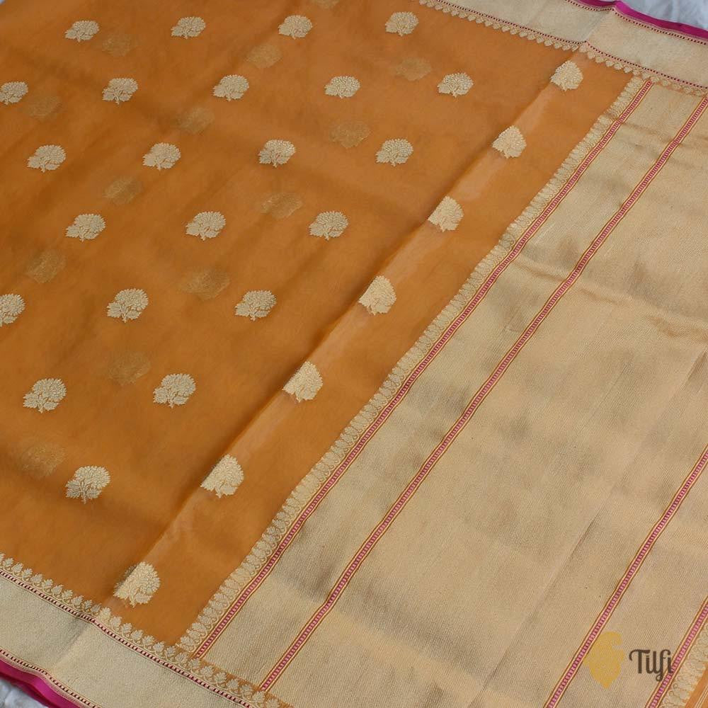 Light Orange Pure Kora Silk Banarasi Handloom Saree