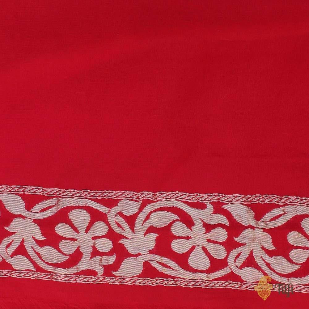 Deep Yellow-Red Pure Chiffon Georgette Banarasi Handloom Saree