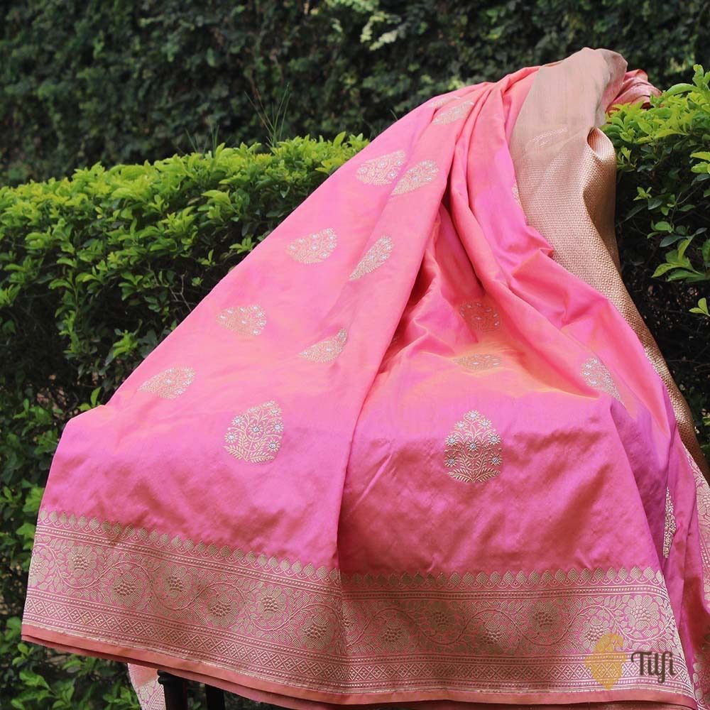 Yellow-Light Gulabi Pink Pure Katan Silk Banarasi Handloom Saree