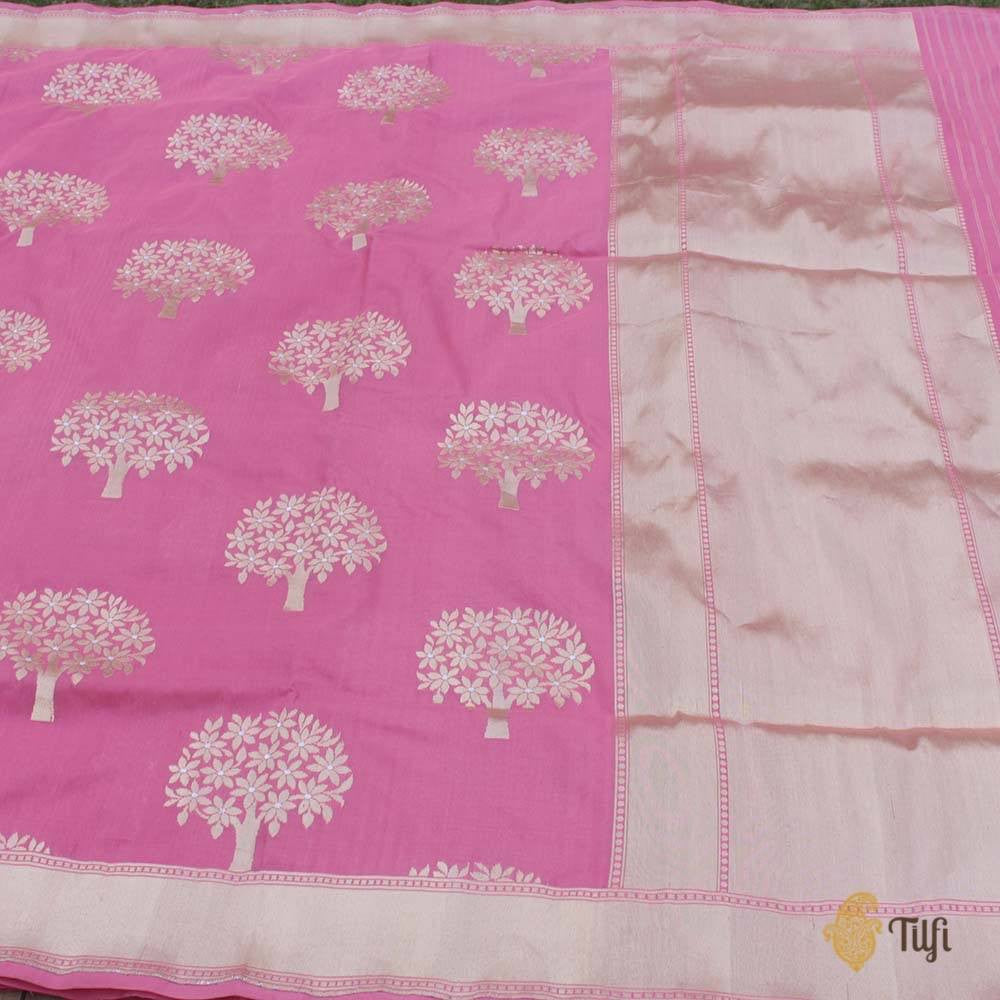 Old Rose Pink Pure Silk Georgette Banarasi Handloom Saree