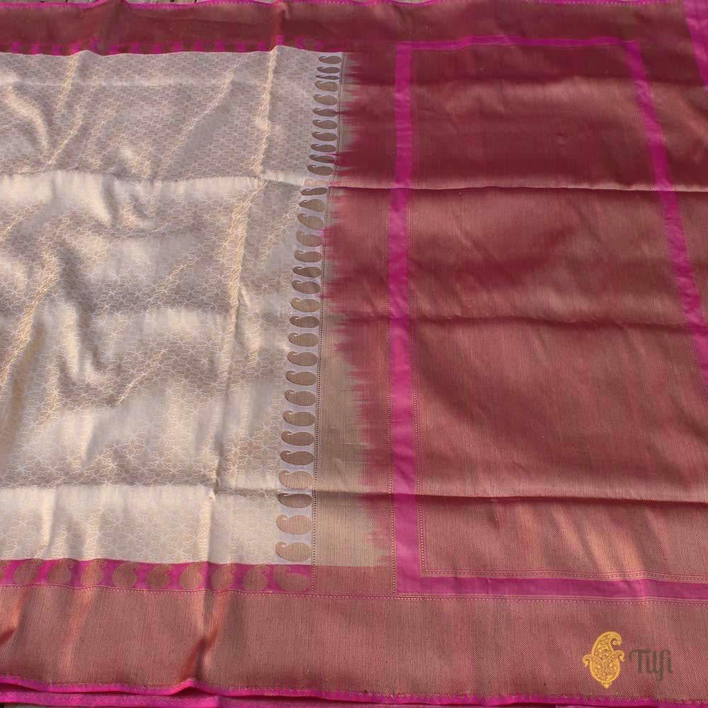 Off-White-Pink Pure Katan Silk Banarasi Handloom Saree