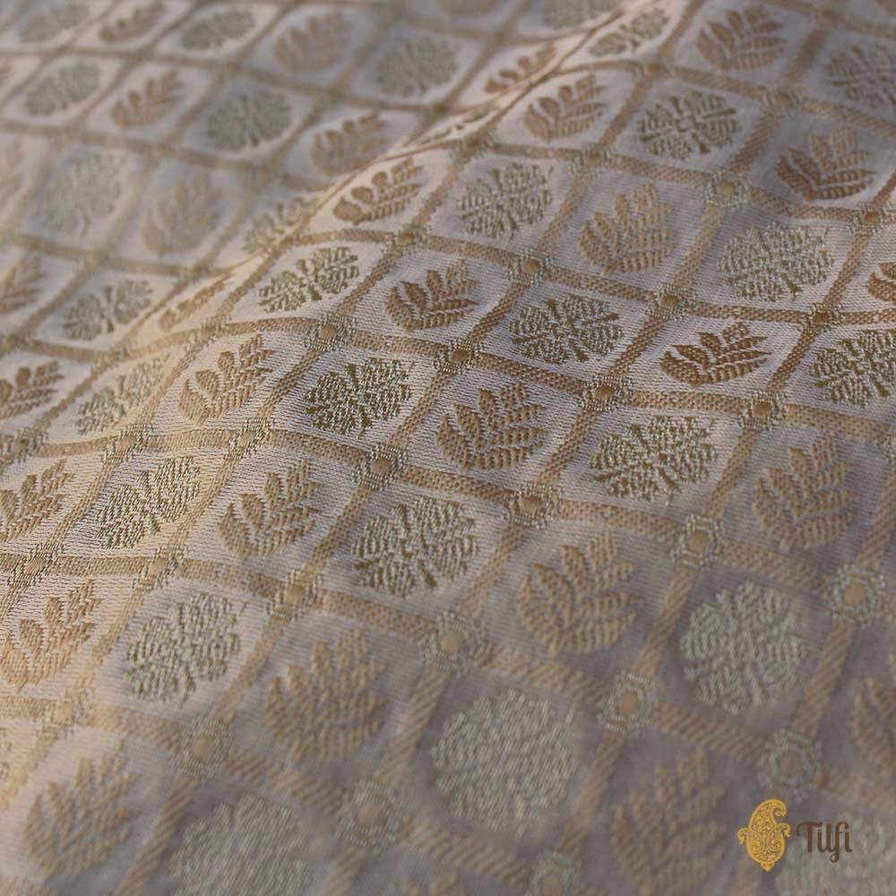 Off-White-Gold Pure Soft Satin Silk Banarasi Handloom Saree