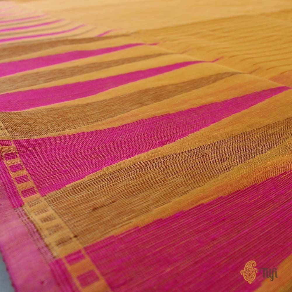 Light Orange Pure Kora Silk by Cotton Banarasi Handloom Saree