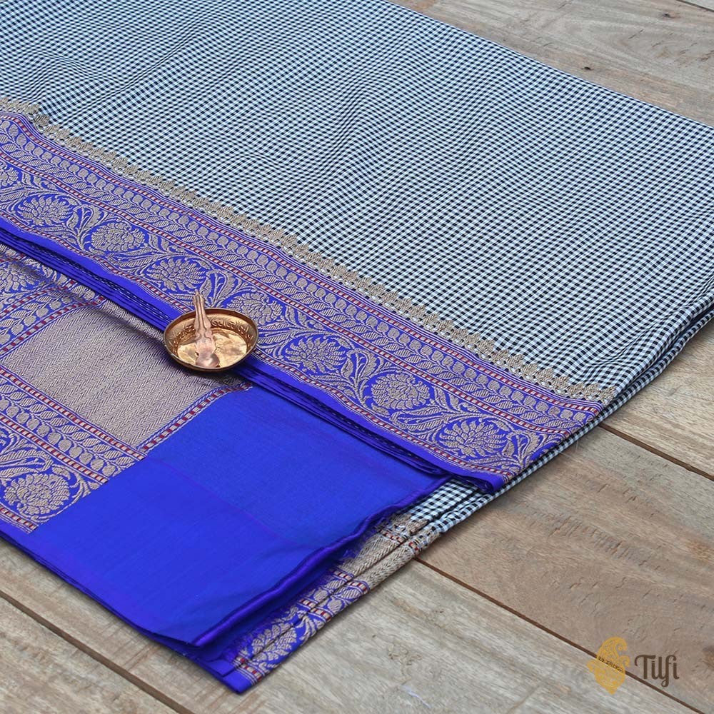 Black-White-Royal Blue Pure Katan Silk Banarasi Kadiyal Handloom Saree