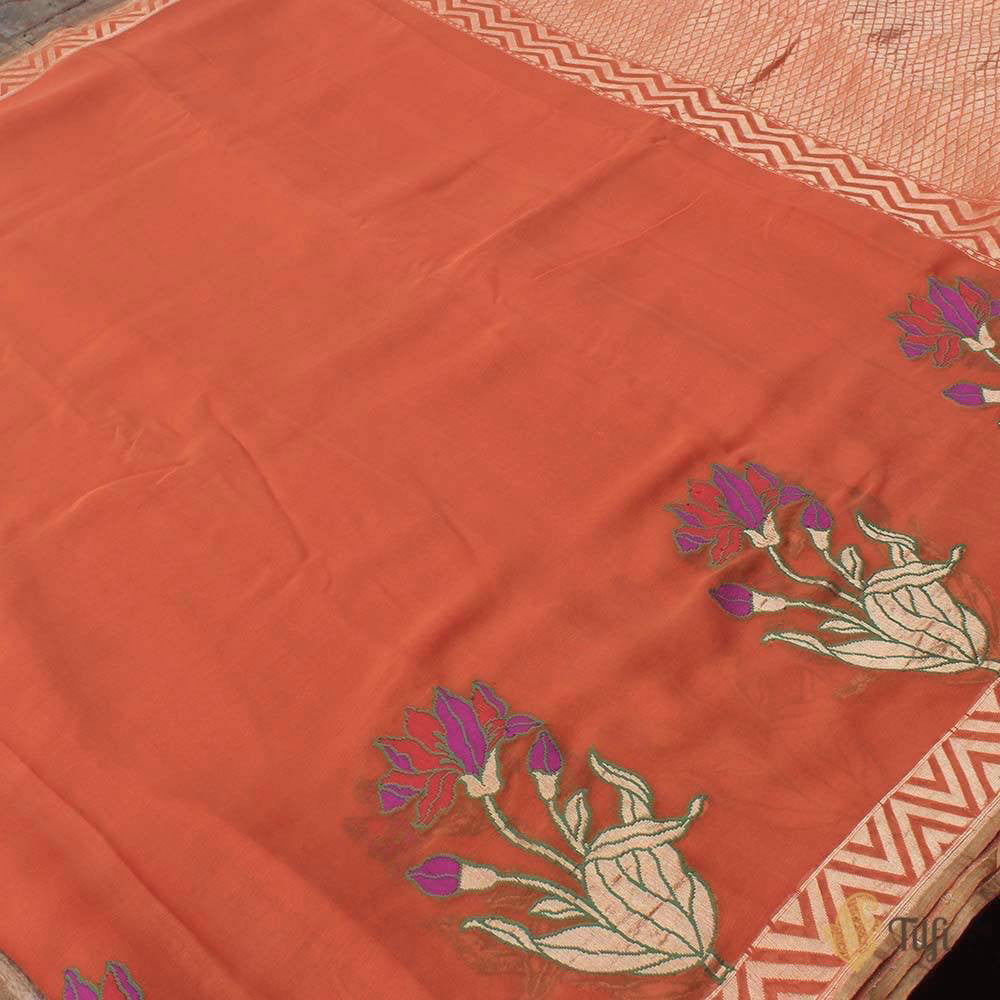 Orange Pure Chiffon Georgette Banarasi Handloom Saree