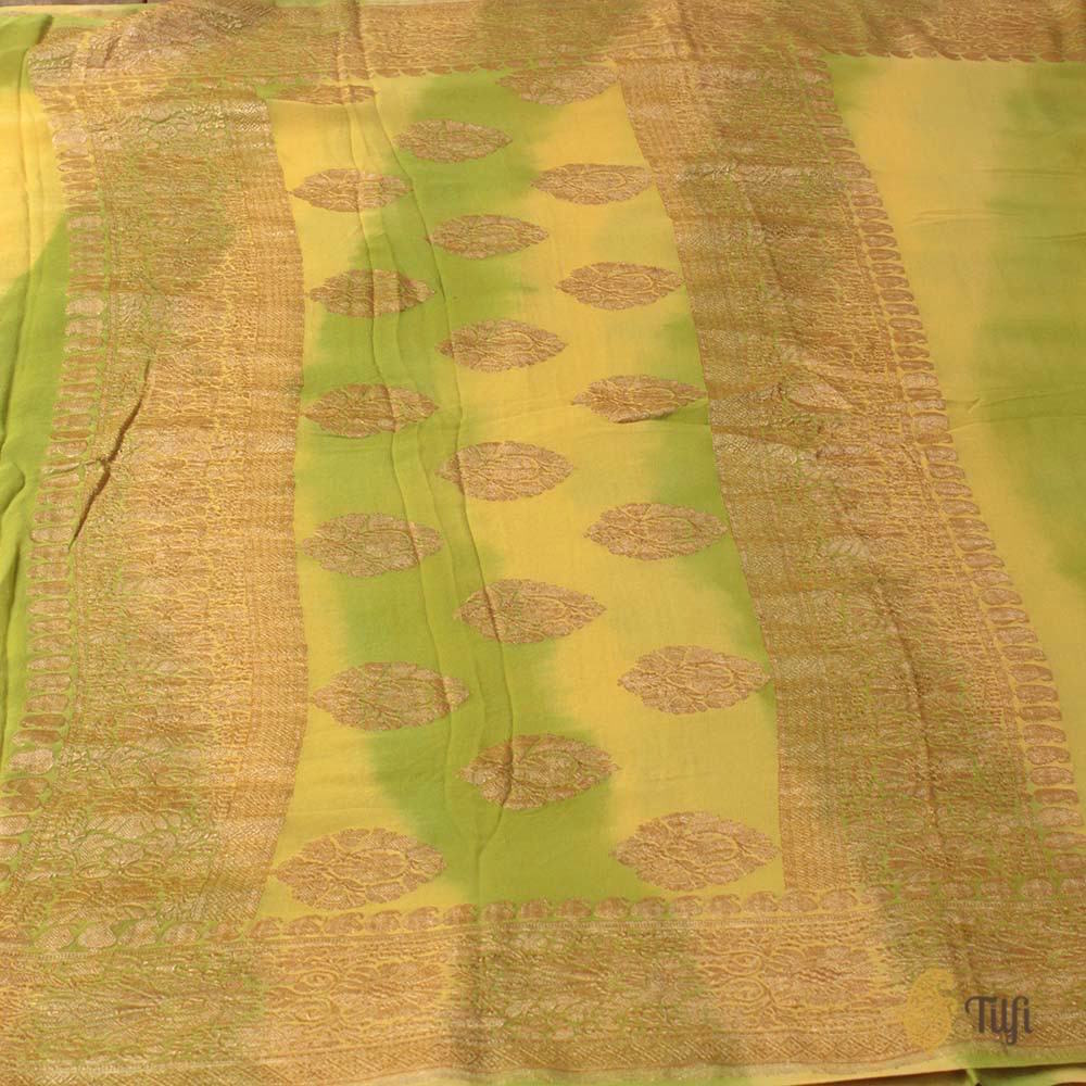 Yellow-Green Pure Chiffon Georgette Banarasi Handloom Saree