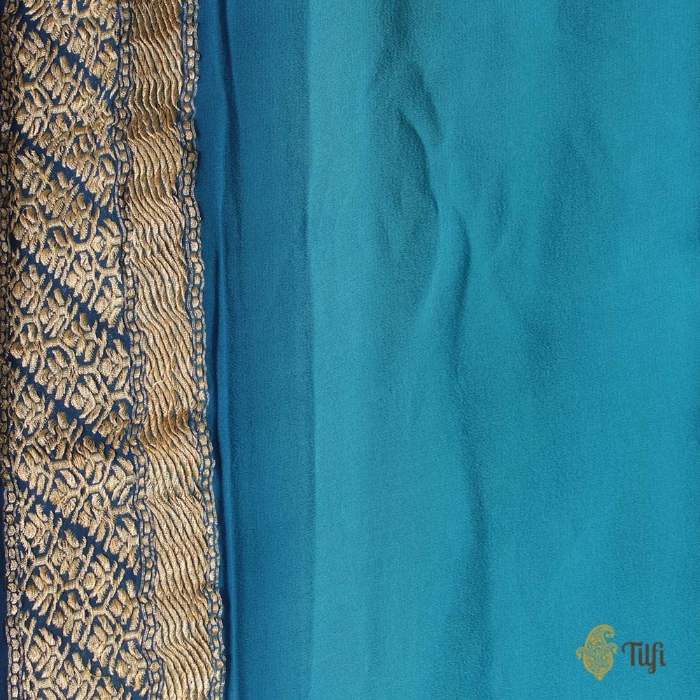 Midnight Blue Ombré Pure Chiffon Georgette Banarasi Handloom Saree