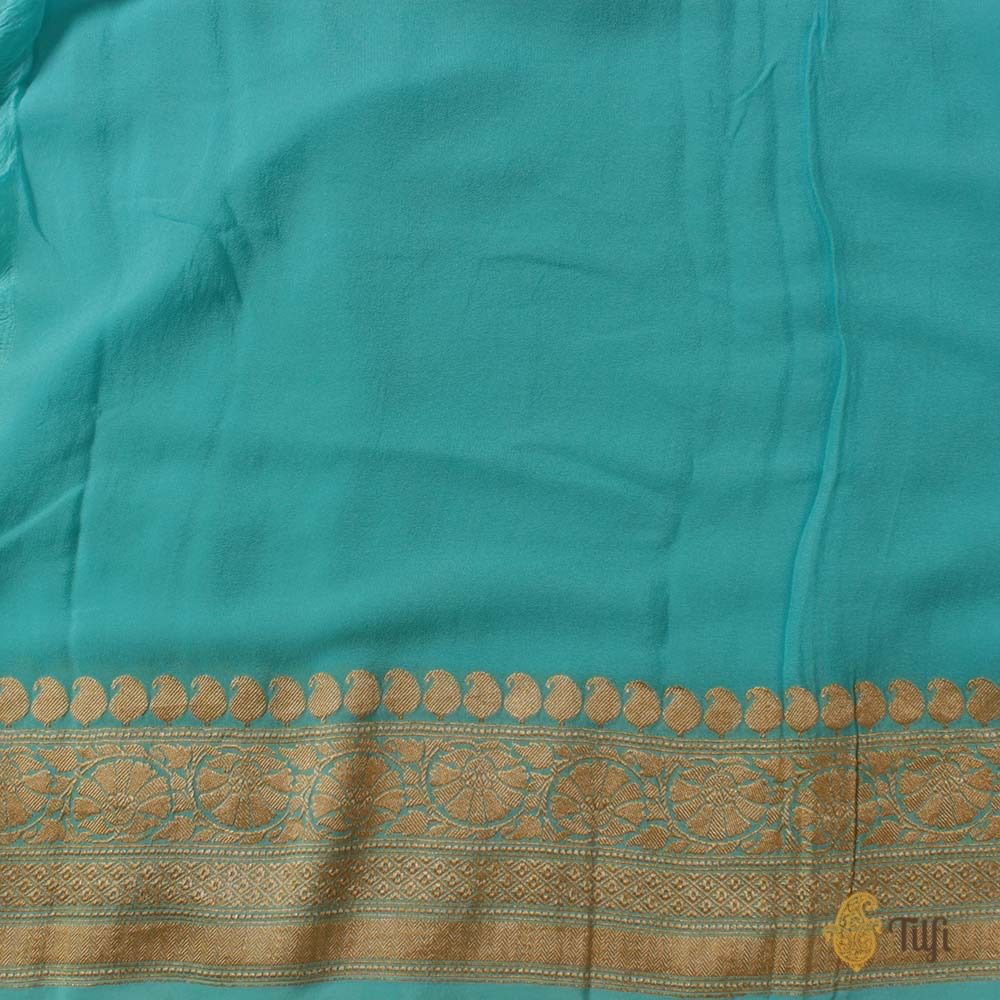 Lemon Green-Aqua Blue Ombre Pure Chiffon Georgette Banarasi Handloom Saree