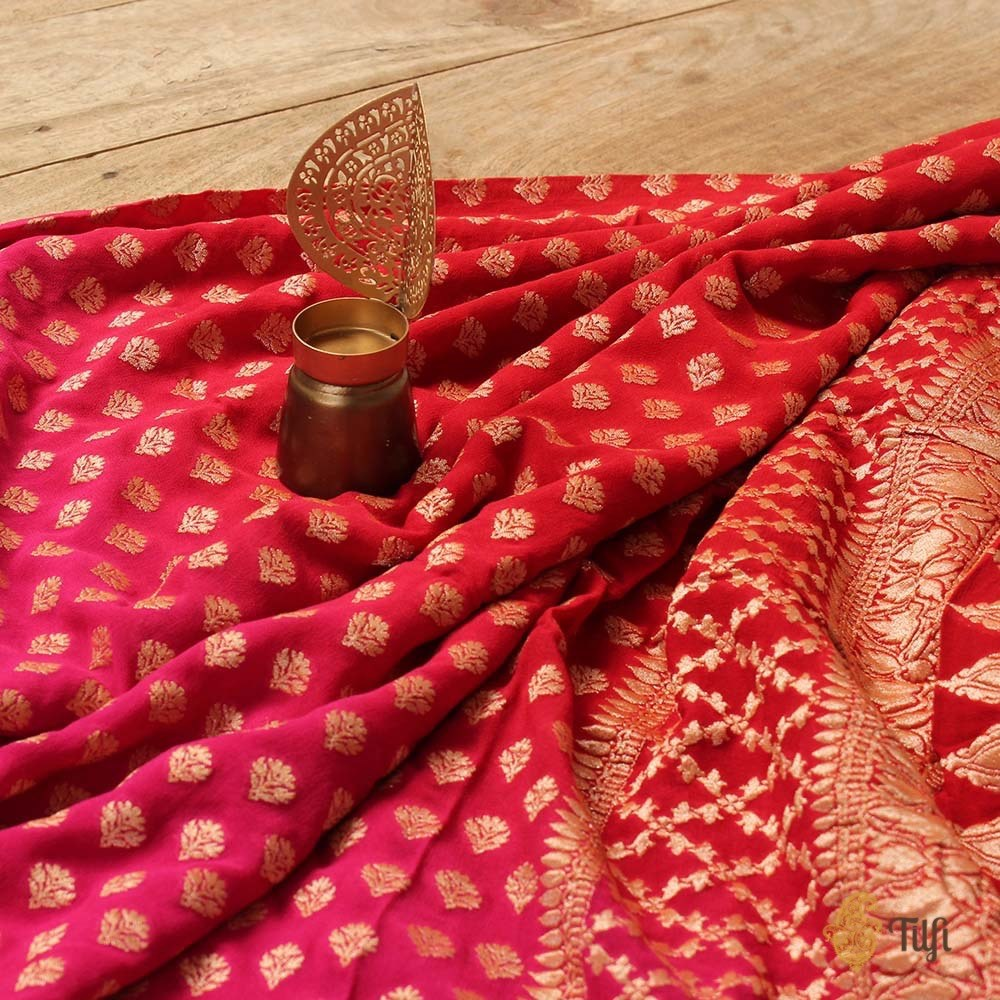Red-Indian Pink Ombre Pure Chiffon Georgette Banarasi Handloom Saree