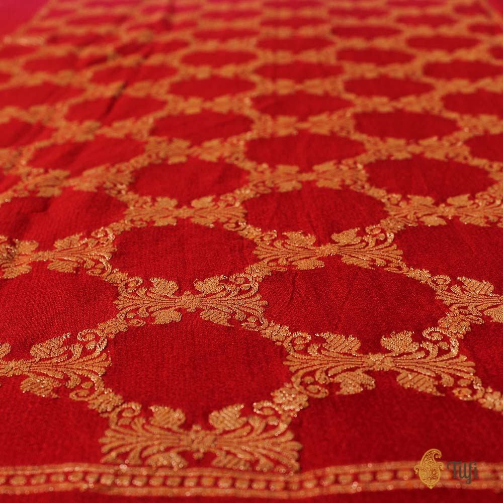 Indian Pink-Red Ombre Pure Chiffon Georgette Banarasi Handloom Saree