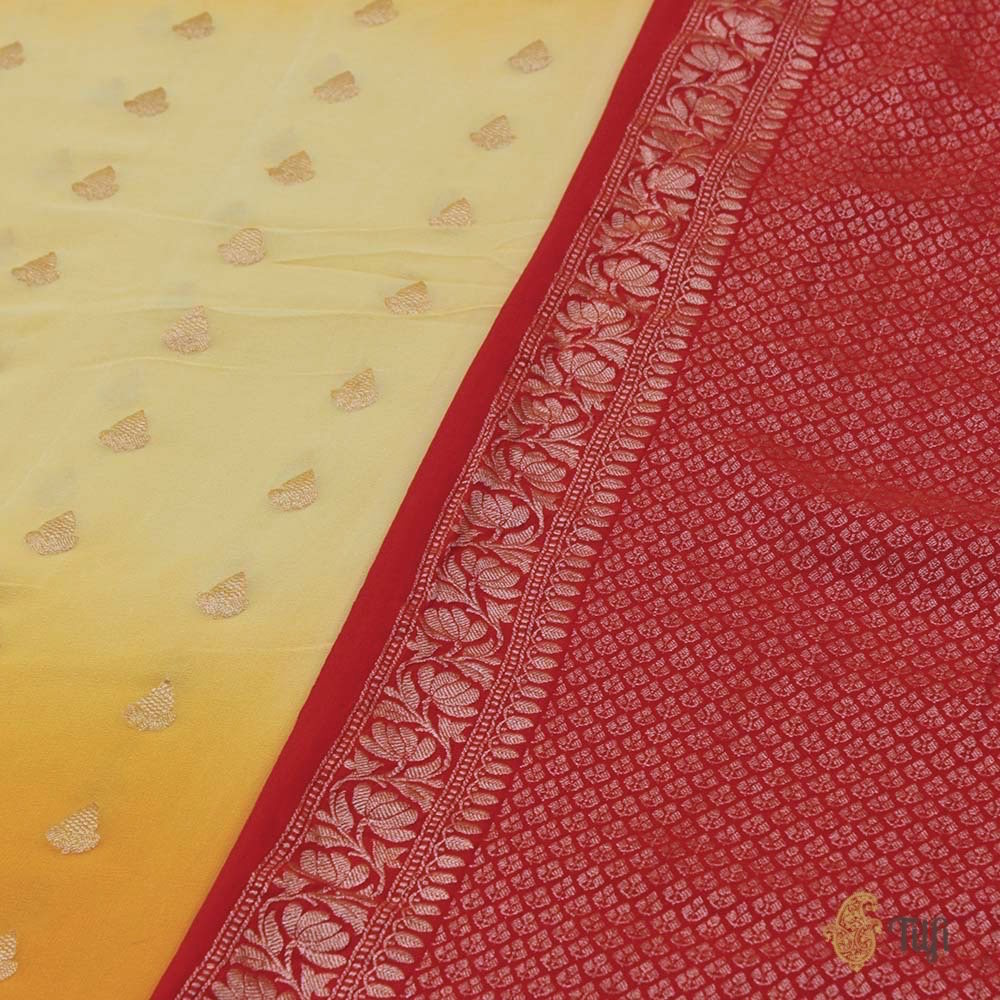 Yellow Ombre Pure Chiffon Georgette Banarasi Handloom Saree