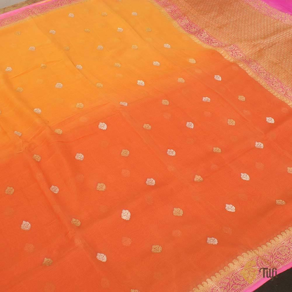 Yellow-Orange Ombré Pure Chiffon Georgette Banarasi Handloom Saree
