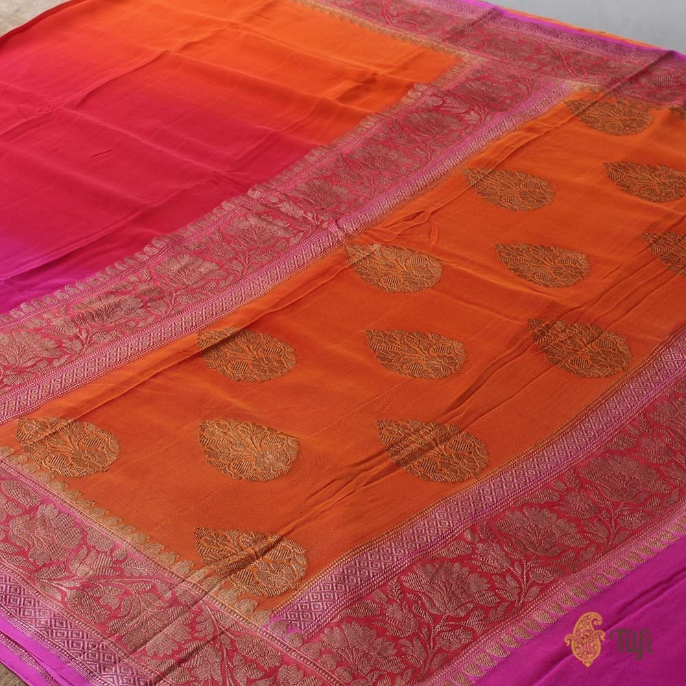 Pink-Orange Ombre Pure Chiffon Georgette Banarasi Handloom Saree