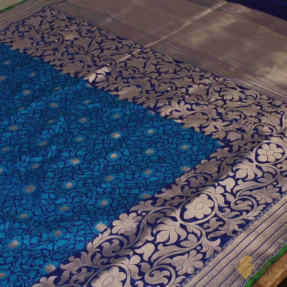 Peacock Blue-Royal Blue Pure Katan Silk Banarasi Handloom Saree