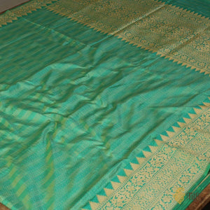 Sea Green-Turquoise Blue Pure Katan Silk Banarasi Handloom Saree