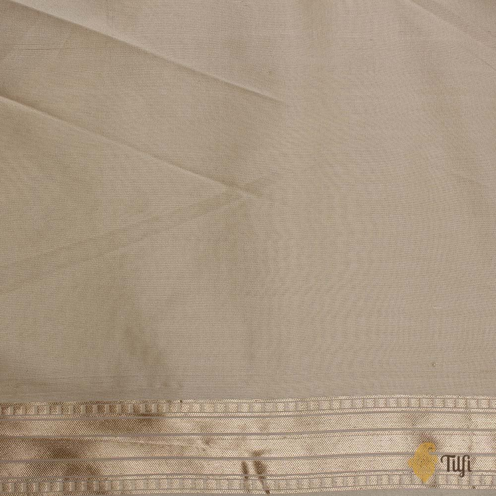 Aqua Blue-Off White Pure Katan Silk Banarasi Handloom Saree