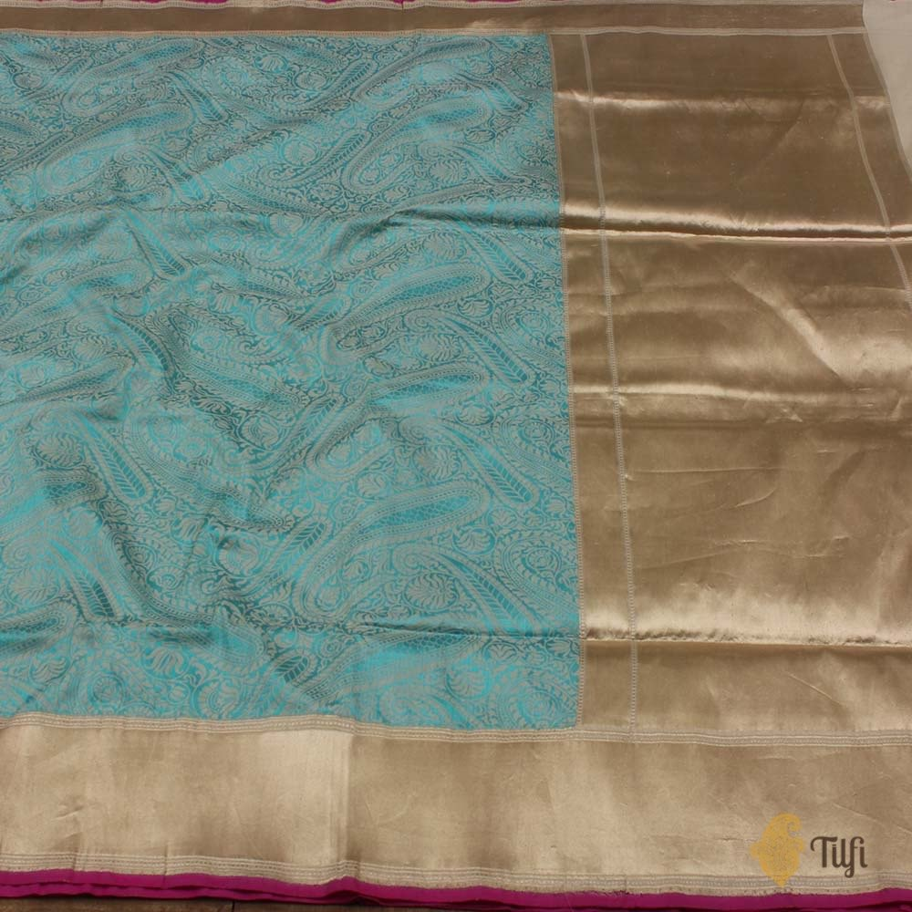 Ferozi Blue-Off White Pure Katan Silk Banarasi Handloom Saree