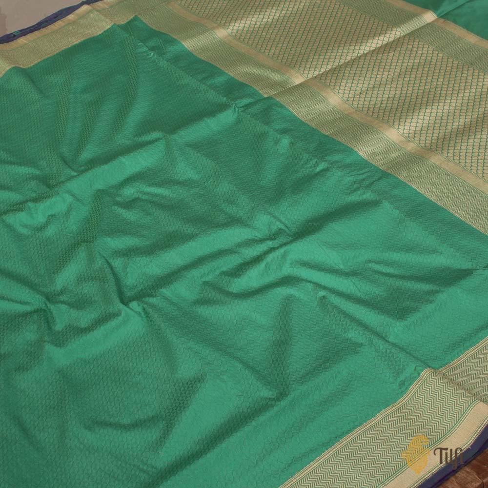 Sea Green Pure Soft Satin Silk Banarasi Handloom Saree