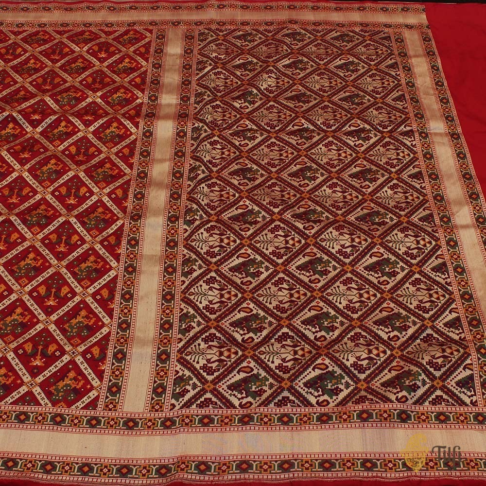 Red Pure Katan Silk Banarasi Patola Handloom Saree