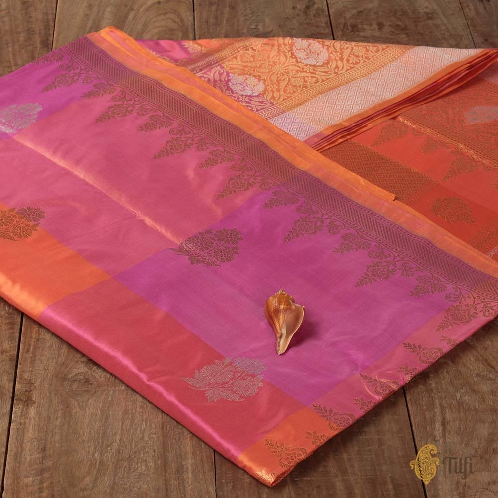 Orange-Pink Checkered Pure Katan Silk Handloom Banarasi Saree