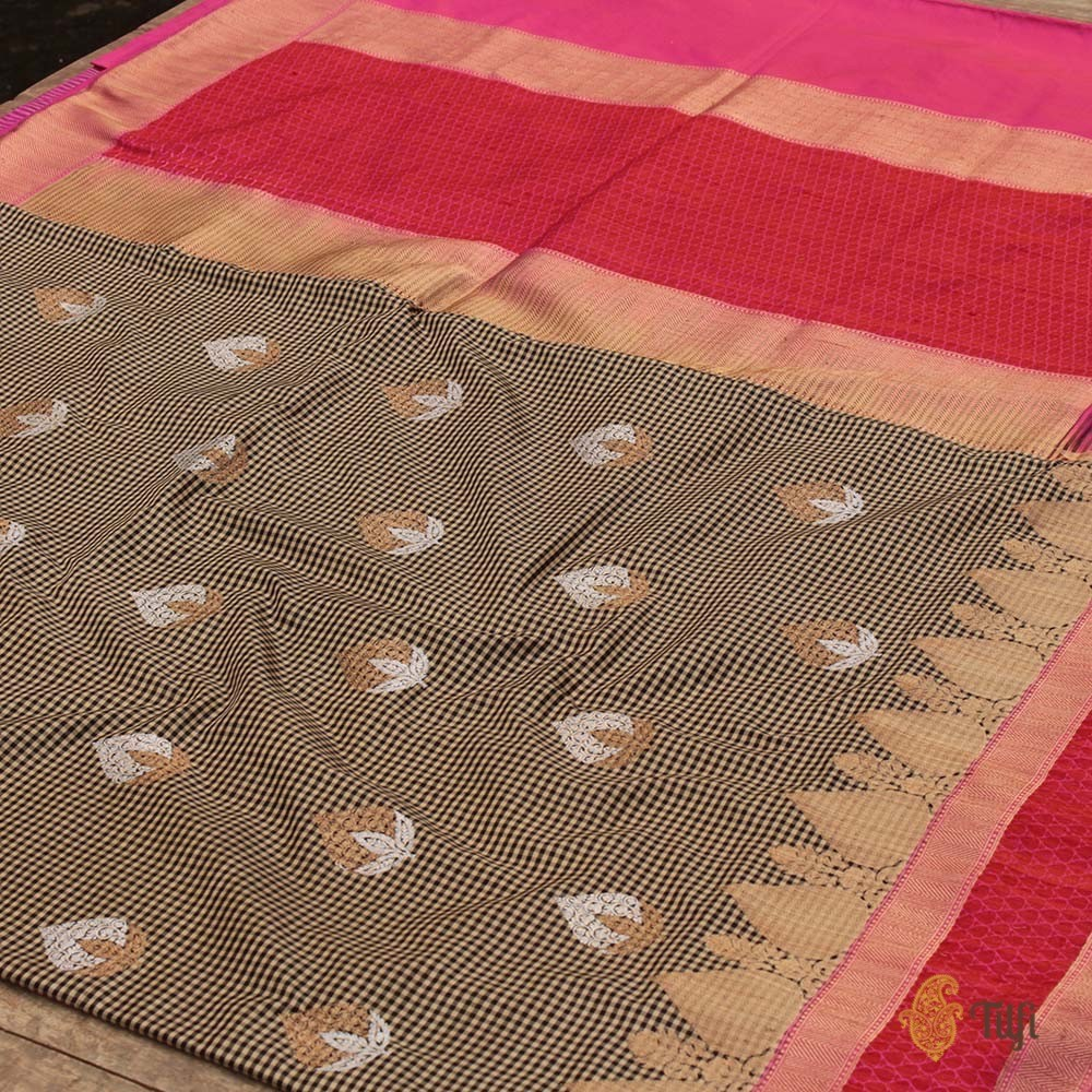 Black-Beige Pure Katan Silk Banarasi Handloom Saree