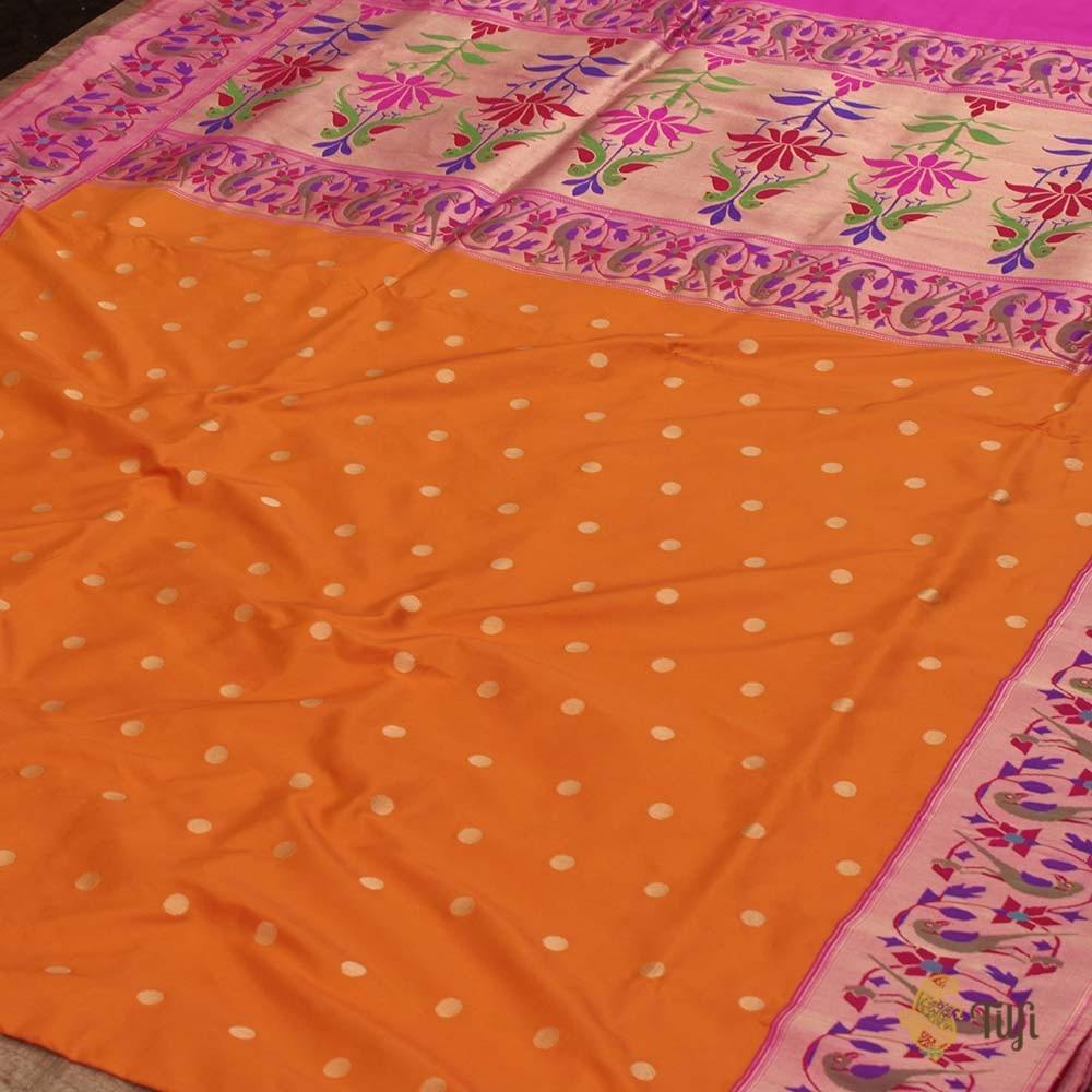 Yellow-Orange Pure Katan Silk Banarasi Paithani Handloom Saree