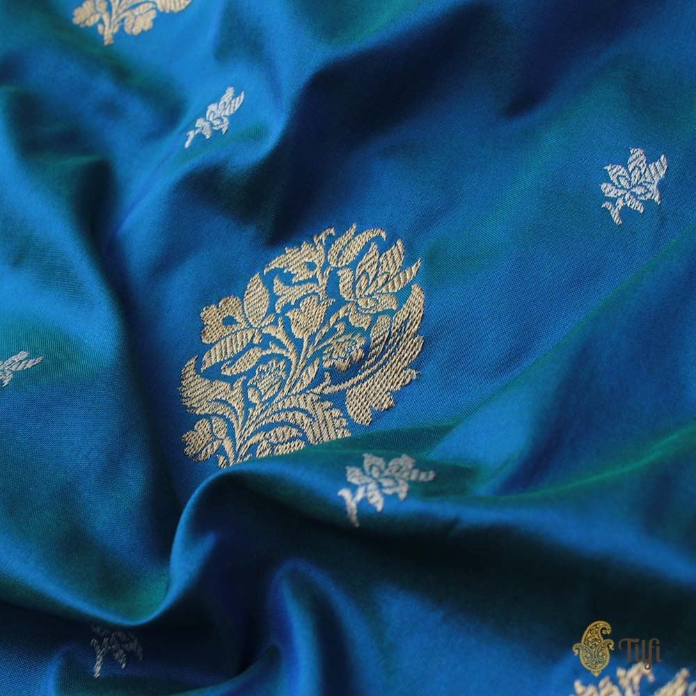 Green-Royal Blue Pure Katan Silk Banarasi Handloom Saree