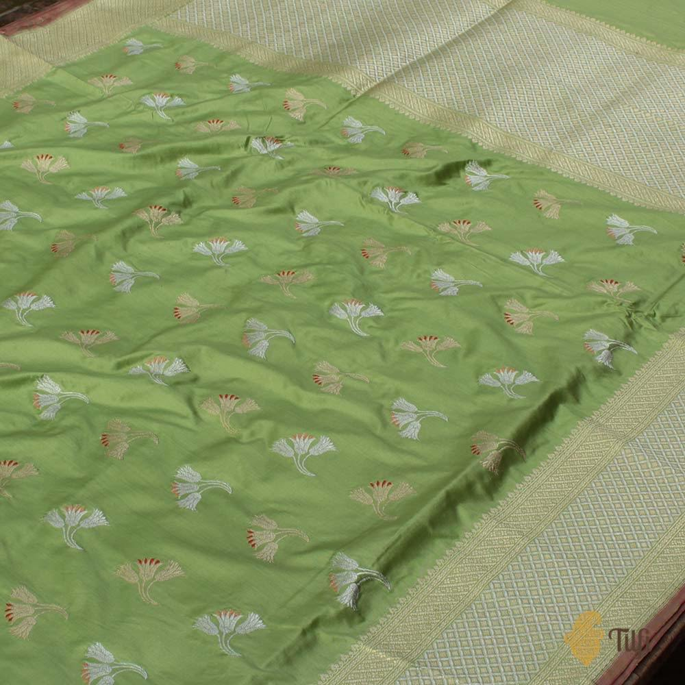 Pista Green Pure Katan Silk Banarasi Handloom Saree