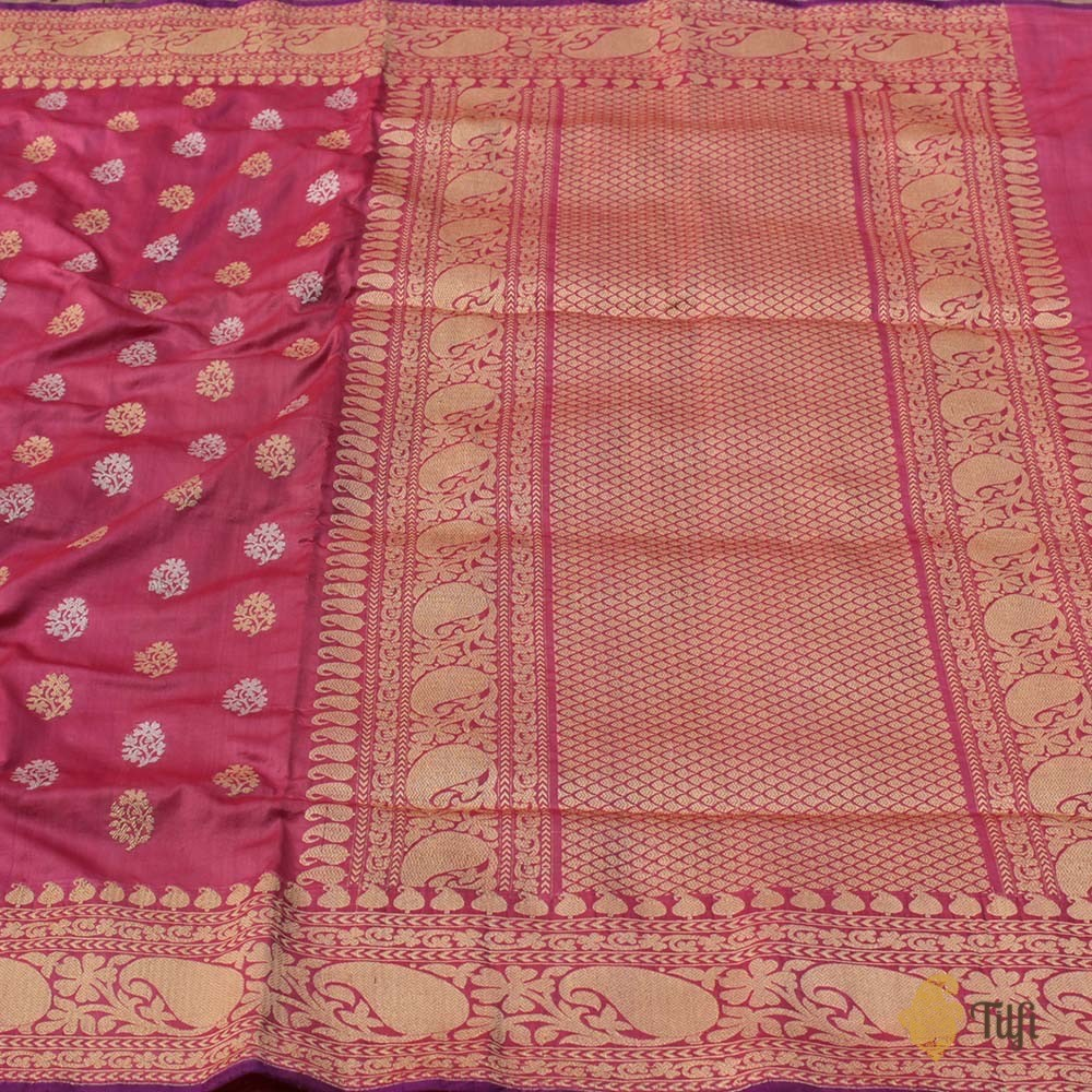 Red-Gajri Pink Pure Soft Satin Silk Banarasi Handloom Saree