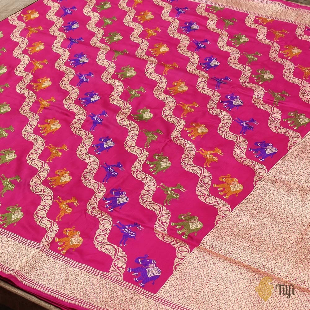 Indian Pink Pure Katan Silk Banarasi Handloom Saree