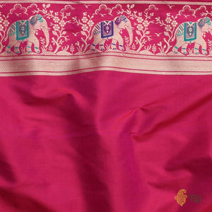 Purple-Gulabi Pink Pure Katan Silk Banarasi Handloom Saree