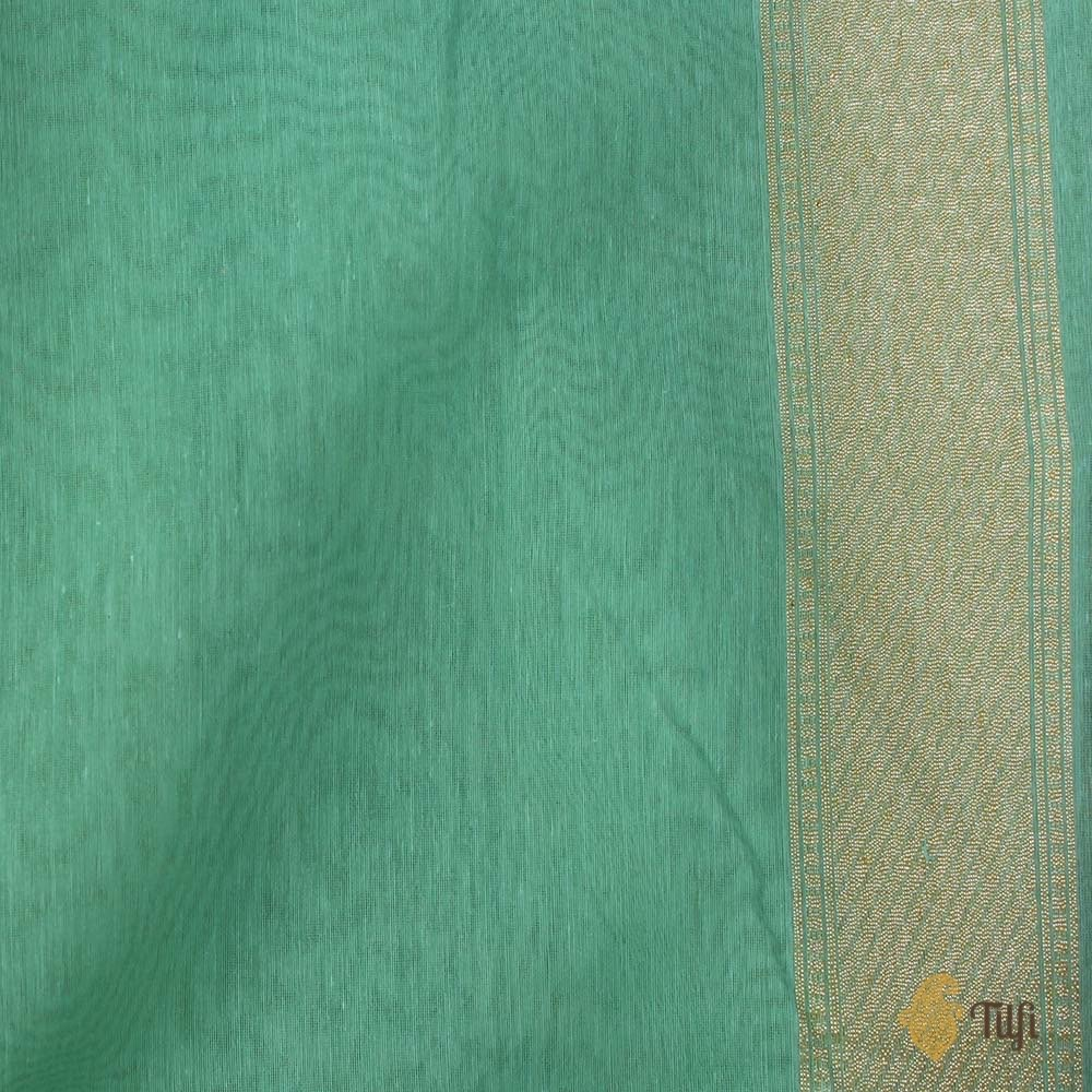 Turquoise Blue Pure Silk by Cotton Banarasi Handloom Saree
