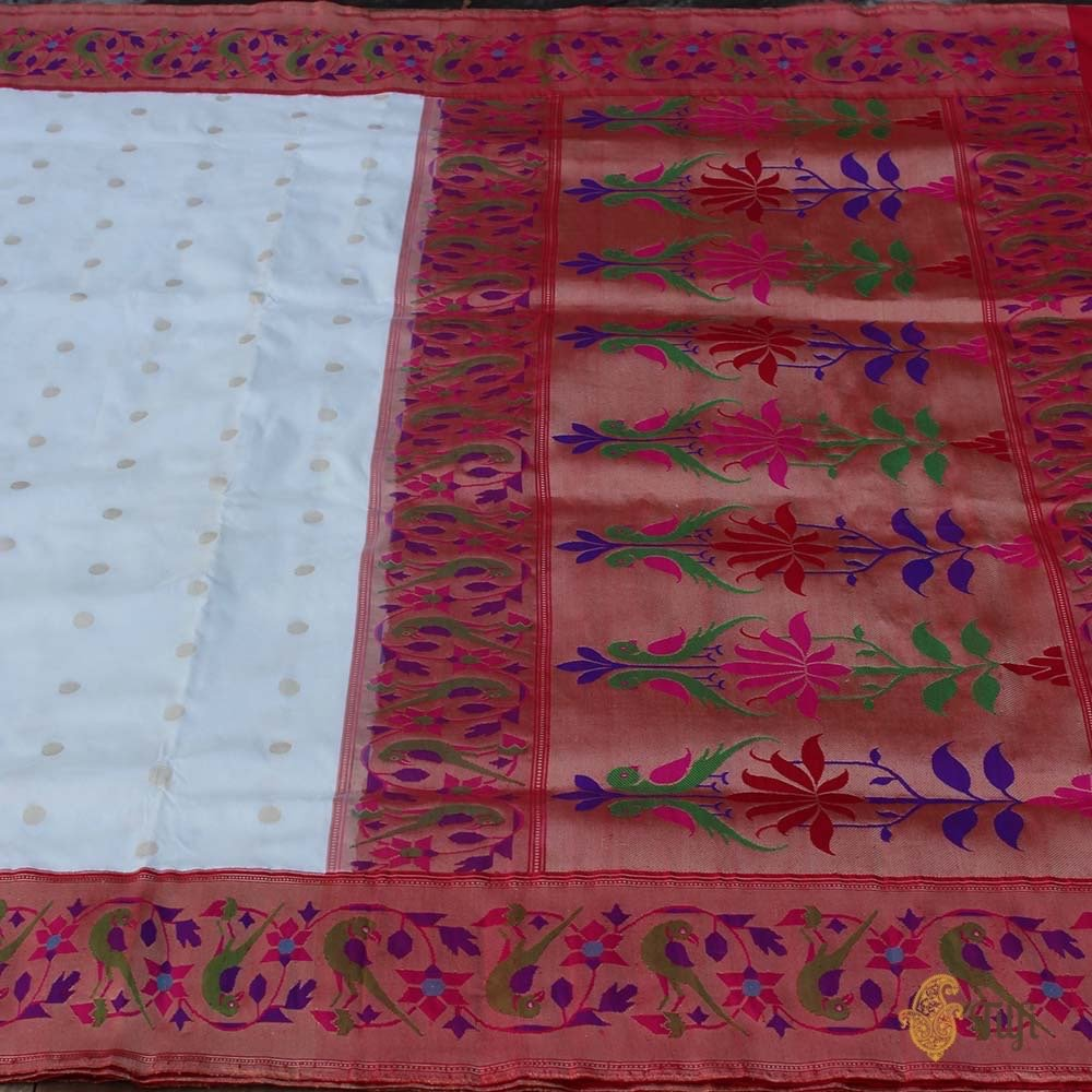 White-Red Pure Katan Silk Banarasi Paithani Handloom Saree