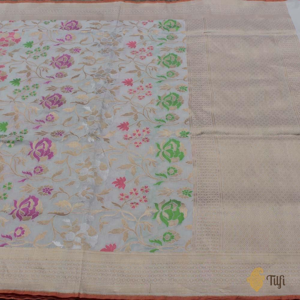 Off-white Pure Katan Silk Banarasi Handloom Saree