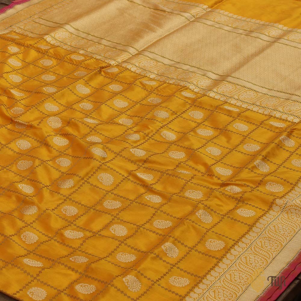 Pre-Order : Orange-Yellow Pure Katan Silk Banarasi Handloom Saree