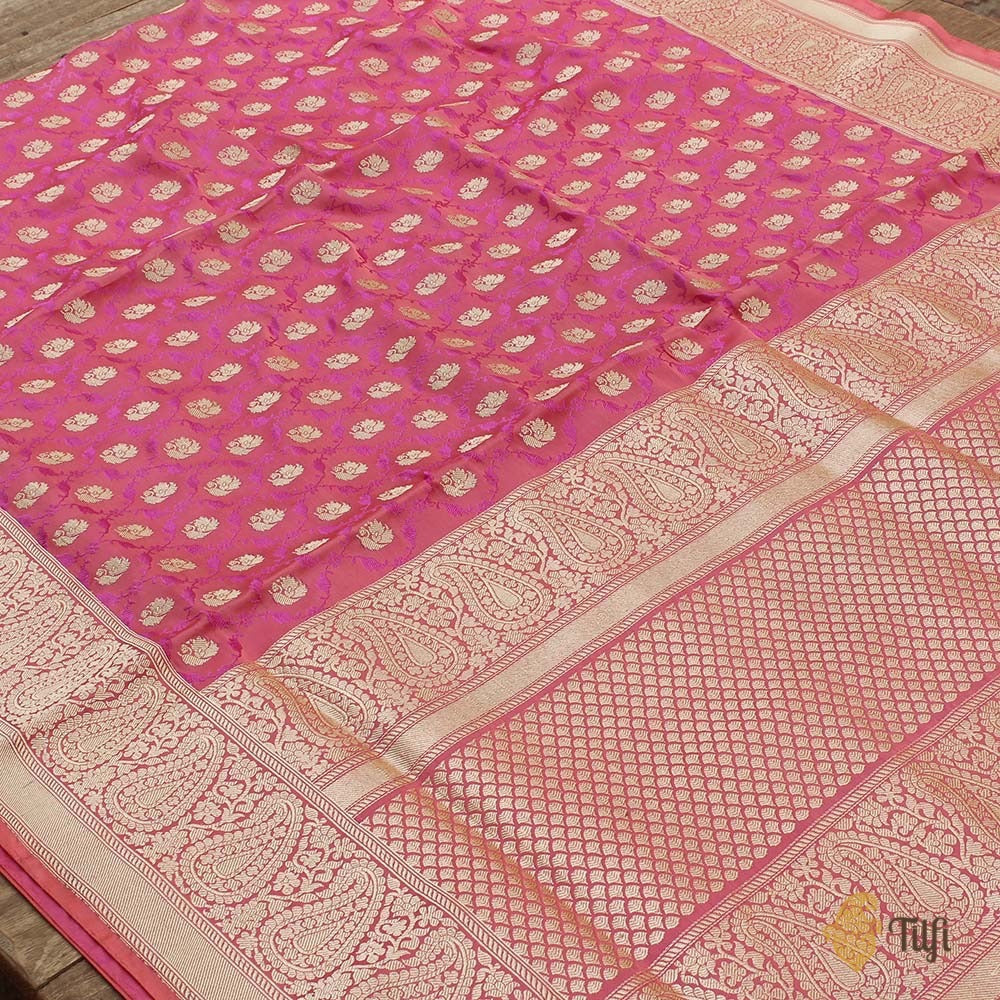 Peach-Pink Pure Soft Satin Banarasi Handloom Saree