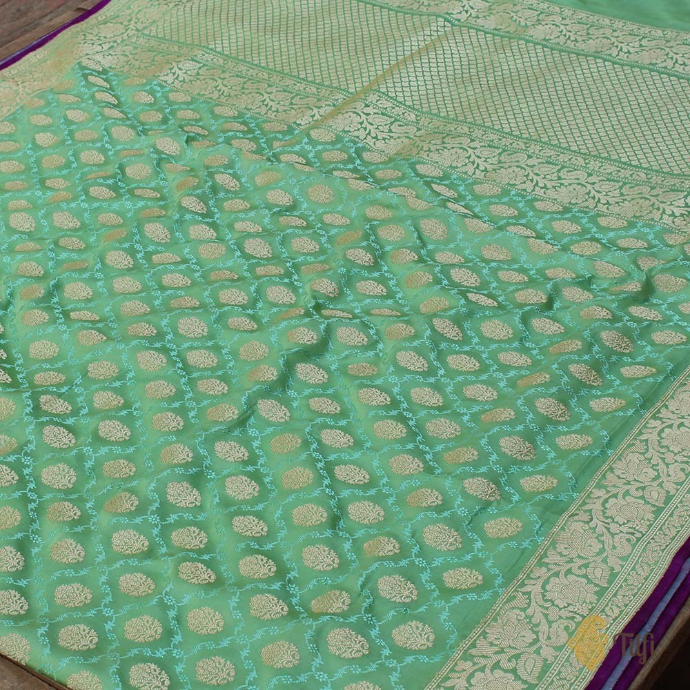 Pista Green Pure Soft Satin Banarasi Handloom Saree